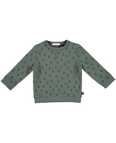 Teal sweater met print